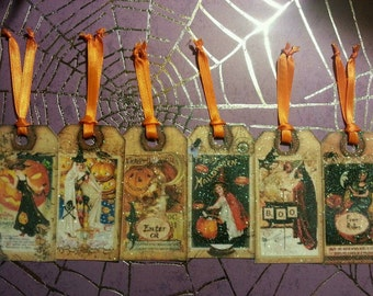 Halloween Tags Set of 6 Shimmery Vintage Style for Scrapbooking, Gifts, Party Favors
