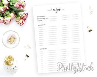 Recipe Printable, Recipe Printable Planner Inserts, Recipe Keeper, Recipe Card, Menu Planner, A4, A5, Letter, Half letter, Binder Printable