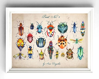 Vintage print, Insect collection, Botanical art, Wall art, Wall decor, Botanical wall art, Botanical print, Botanical decor, Nature
