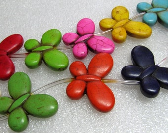 Howlite Beads 35 X 25mm Turquoise Multicolored Carved Butterflies - 16 inch Strand