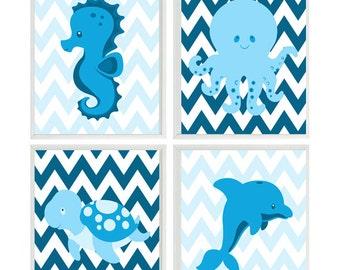 Sea Creature Prints, Beach Nursery Art, Dolphin, Sea Turtle, Octopus, Seahorse, Blue, Chevron, Bathroom Art, Baby Boy Nursery, Under The Sea