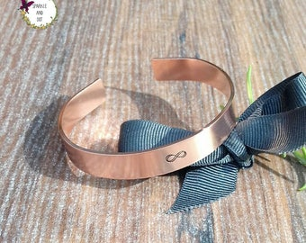 Gifts For 7th Anniversary, Copper Infinity Bracelet, Copper Wedding Anniversary, Hand Stamped Cuff Bracelet,