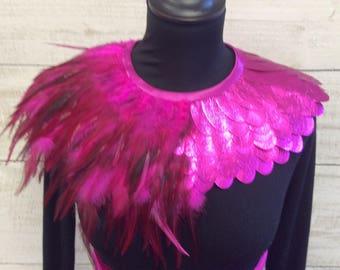 Hot pink half leather half feather neckpiece