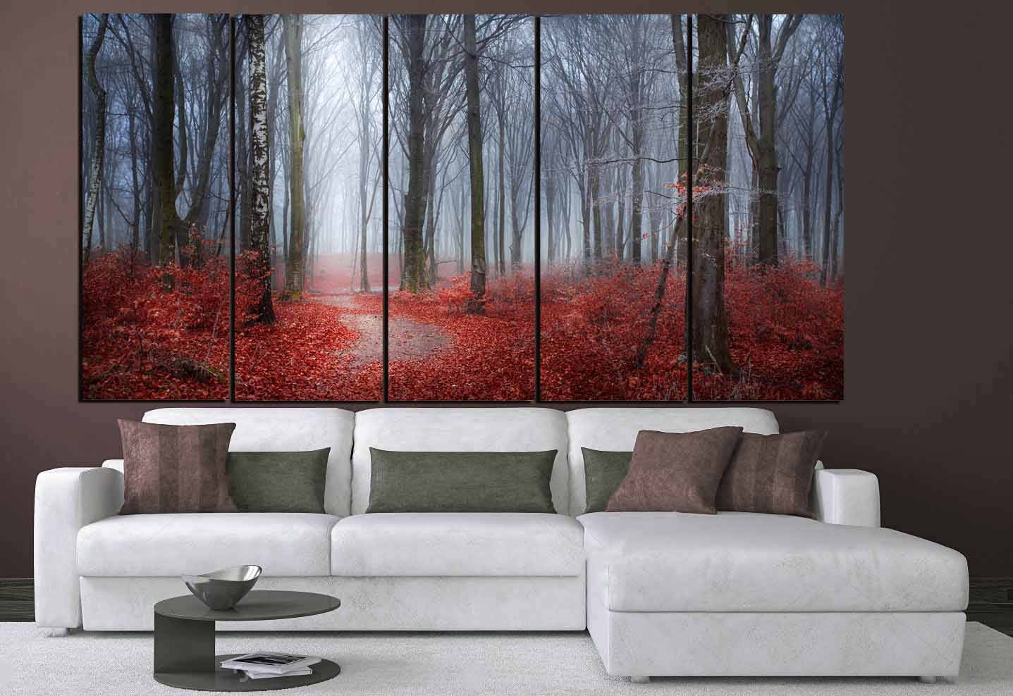 Nature Wall Art,Red Leaves Blue Mist Art,Red Leaves Forest,Nature Scenery  Living Room Wall Decor,Interior Design Wall Art,Foggy Forest Art