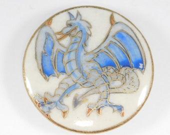 Rare Meiji Satsuma Button With Flying Dragon Wow