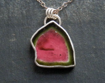 Tourmaline slice necklace / watermelon tourmaline / bi color tourmaline / raw tourmaline / tourmaline pendant / turmalina / mother's day