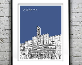 Doylestown Skyline Poster Art Print Pennsylvania PA