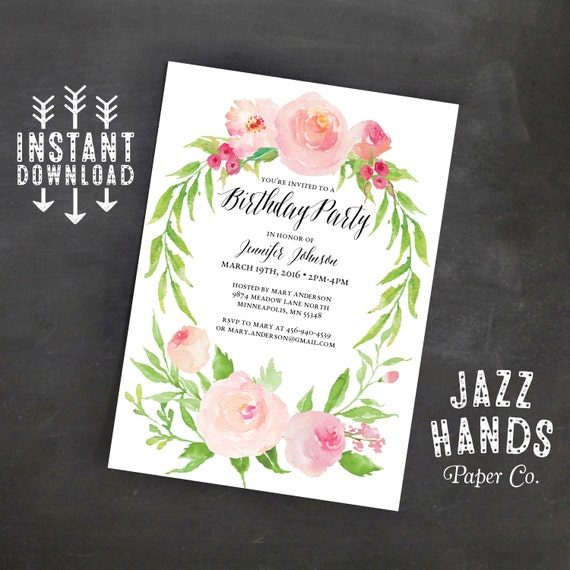 Printable Birthday Invitation Template Instant Download