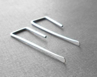 Silver Earrings, Minimal Long Sterling Silver Straight Wire Earrings, Minimalist Jewelry
