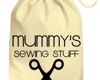 Personalized Drawstring Cotton Gift Bag Mummy's Sewing Gift Bag, Personalised Mummy's Sewing bits and bobs bag, Cute gift bag funny
