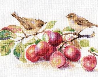 Point de croix kit 5-17 oiseau et fleur de 29 x 16 cm