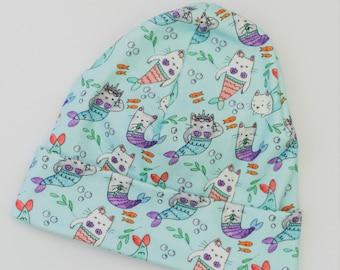 Purrmaids Hat/ Cat/Mermaid/ Kids Beanie/ Slouchy Hat