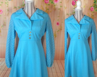 Vintage Robins Egg Blue 60's Vintage Dress With Lace Sleeves