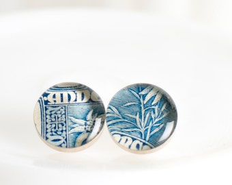 Button earrings | Postage stamp | Andorra | Blue | Post