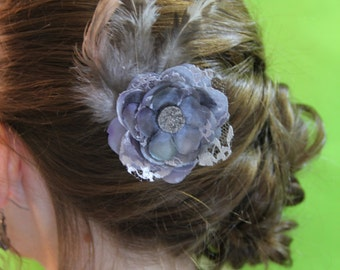 "gray and purple lace and crystal feather hair clip ""aubree"""