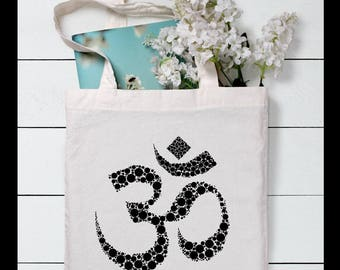 Ohm Tote Bag, Yoga bag, Spiritual symbol, Gift for yogi, Gift for her, Gift for friend, Canvas tote bag, Gym bag, Market bag