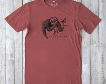 Funny Graphic Tee, Sloth T-shirt, Organic Clothing, Urban Tshirt, Bamboo Tee Shirt, Typography Shirt, CHILL MORE