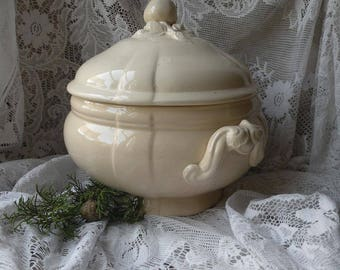 LARGE French Antique Ironstone Tureen, Nordic Living, Shabby Chic, Sarreguemines, Jean d'arc Living, French Farmhouse Decor, Nordic Decor