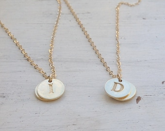 Personalized Necklace,Initial Necklace,Personalized gift,Disc necklace,Gold initial necklace,letter necklace