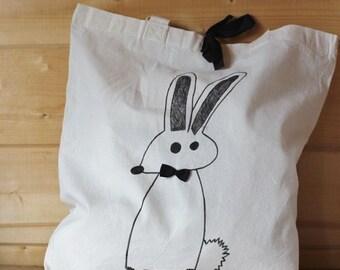 Cloth bag, illustrated bag, rabbit bag, reusable bag, shopping bag, bag, cotton bag, mother's day.