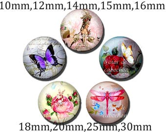 5pcs Y475 Cabochons manual diameter of 10mm 12mm 14mm 15mm 16mm 18mm 20mm 25mm 30mm butterfly, flower, life vintage