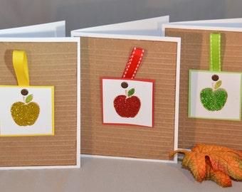 Apple Card - An Apple a Day Blank Handmade Cards (Set of 3) - Fall Card - Back to School Card