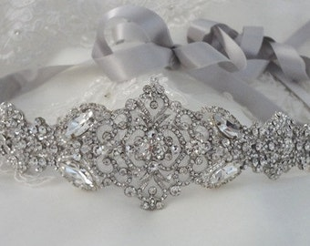 Wedding Dress Gown Crystal Belt Embellishment Brooch Sash