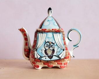 "Ceramic Teapot, Porcelain Tea Pot, Handmade Teapot, Porcelain teapot ""Owlet"""