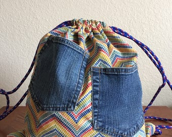 Handcrafted Rainbow Mosaic Print Drawstring Backpack