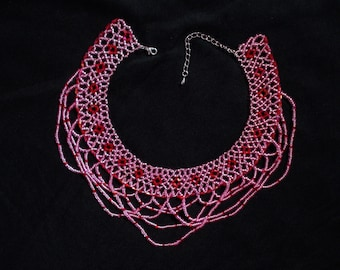 Pink Beaded Lace Collar Netted Necklace - Elegant Seed Bead Lace Necklace - Beaded Jewellery