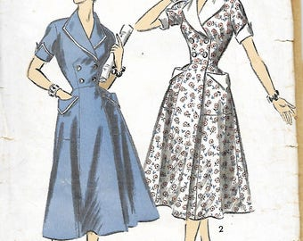 1950's Advance 6706 Misses Double Breasted Dress Or Housecoat Sewing pattern, Size 16, Bust 34