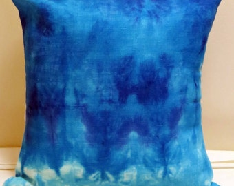 Blue Throw Pillow, Blue Cushion Cover, Hand Dyed Cushion Cover, OOAK Cushion Cover, Home Decor Linen