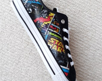 New! Only 3 Available. Canvas Shoes Hand Customised with Retro Star Wars Fabric.