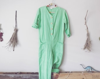 Soft Green Cotton Romper