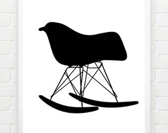 Chair Poster - History of Chairs - Retro Chairs - Furniture Art - Chair silhouettes - Iconic chairs - Barcelona eames chairs