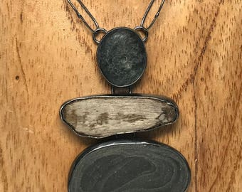 Rock and Driftwood Necklace