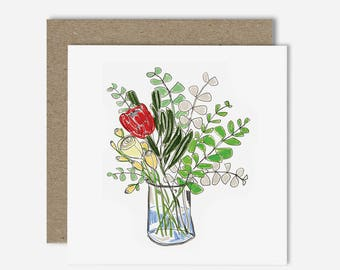 Protea in Vase / Floral Illustration Greeting Card