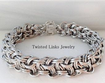 Silver bright aluminum chainmail bracelet, Kinged Vipera Berus