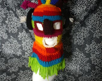 Handmade Kachina Doll Knit Mask. Multi Colored Rainbow Ethnic Tribal Kachina Mask. Funky Rainbow Festival Raver Mask. Shaman Ritual Mask