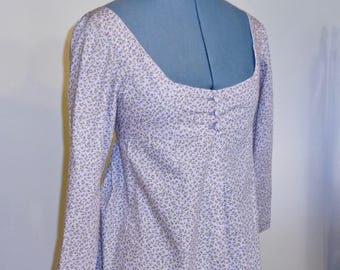 """Readymade Regency Button Front Gown, Lilac Purple with Floral Print, 32"""" Bust"""