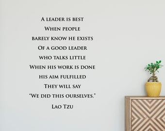 A leader is best when people... Lao Tzu Quote, Customizable Vinyl Decal, Chinese, Classroom, Leadership, Spiritual, Zen, Taoism - Classic