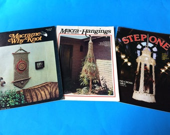 3 Macrame 1970s How To Instruction Pattern Books Planters Lampshades Wall Decor