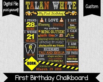 Construction First Birthday Chalkboard - Digital | You Print - Boy's First Birthday Poster - First Birthday - Little Digger - Boys - One