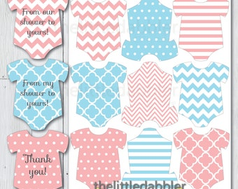 Printable Pink Blue Gender Reveal Baby Shower Mini Onesie Favor Tags -- Baby Romper Thank You From Our Shower to Yours Tags -- PDF