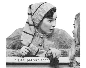 Hat Knitting Pattern Stocking Cap Pattern Womens Knit Hat With Pompom Instant Download-  K49