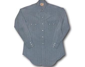Vintage 1950's LEVI'S Western Wear Short Horn Blue Sawtooth Rockabilly Pearl Snap Western Shirt Sz M