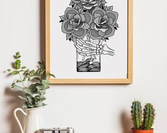 Flower Vase Printable Digital Art Design - Printable Illustration Design - BlackInkDesignCo