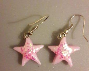 polymer clay star earring