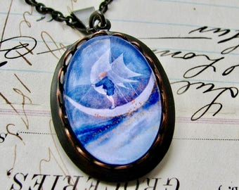 Sailing on the Moon necklace made with Fallen Angel Brass, handmade glass cabochon, black brass, children stories, wings, fantasy