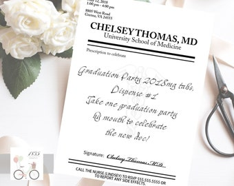 Prescription Pad Invite, Nursing Graduate, Medical School Graduation, Hospital, RN Grad, Party Celebration, Digital Invitation
